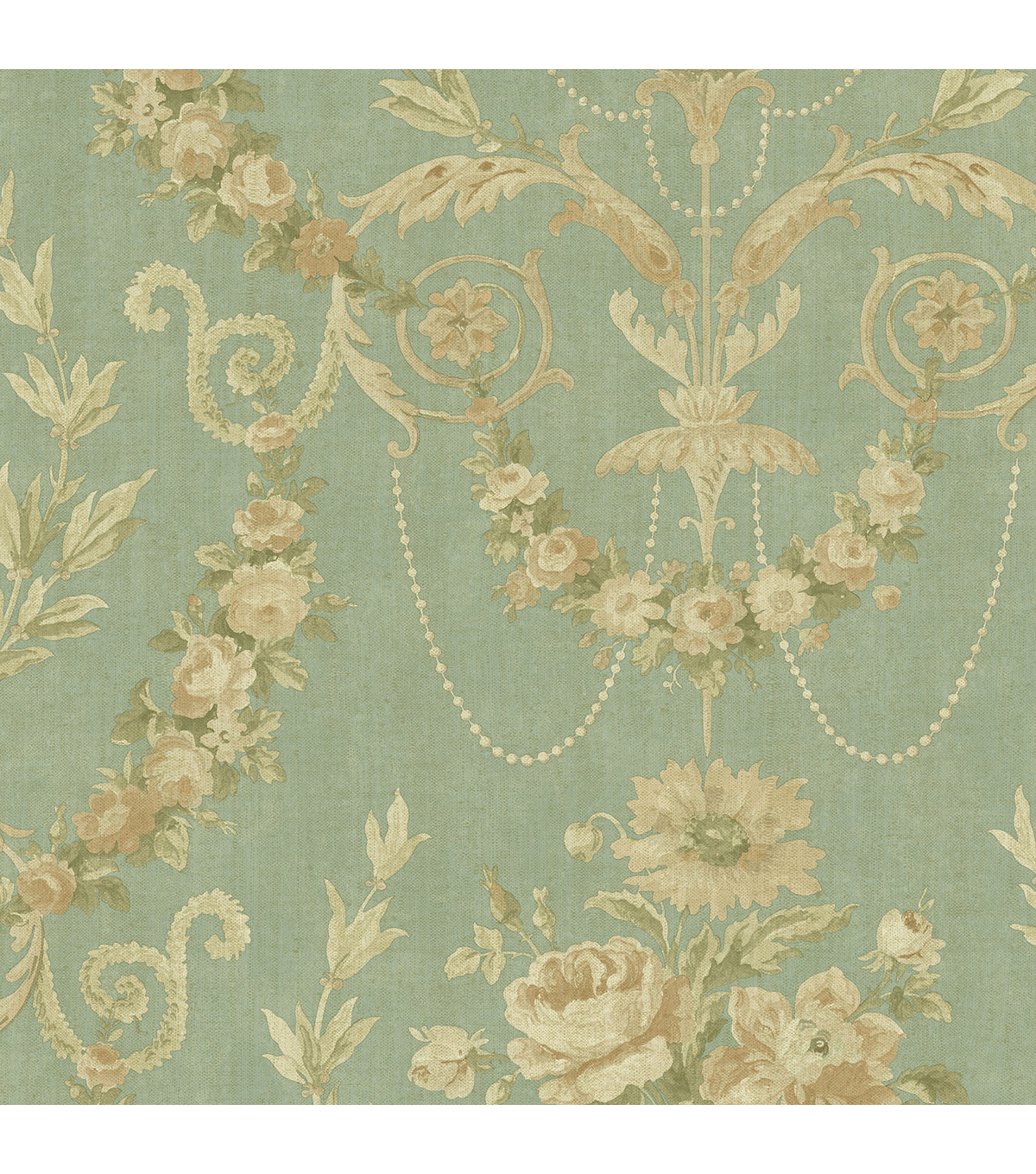 Sage Rose Urn Wallpaper Sample