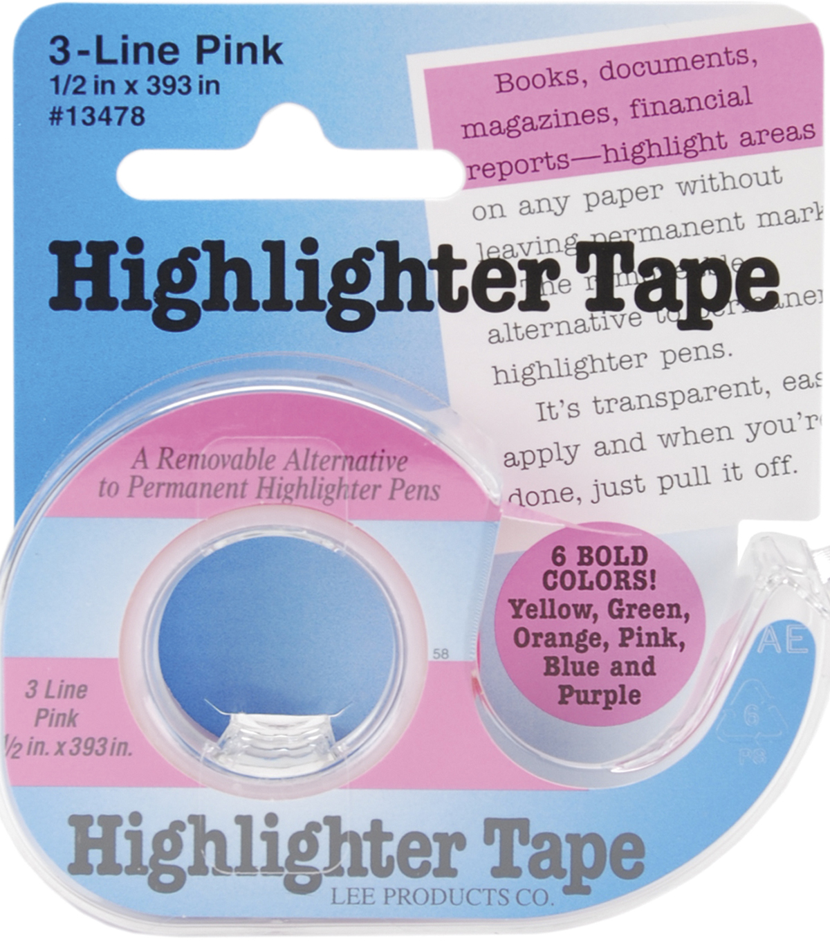 Highlighter Tape .5\u0022X393\u0022-Pink
