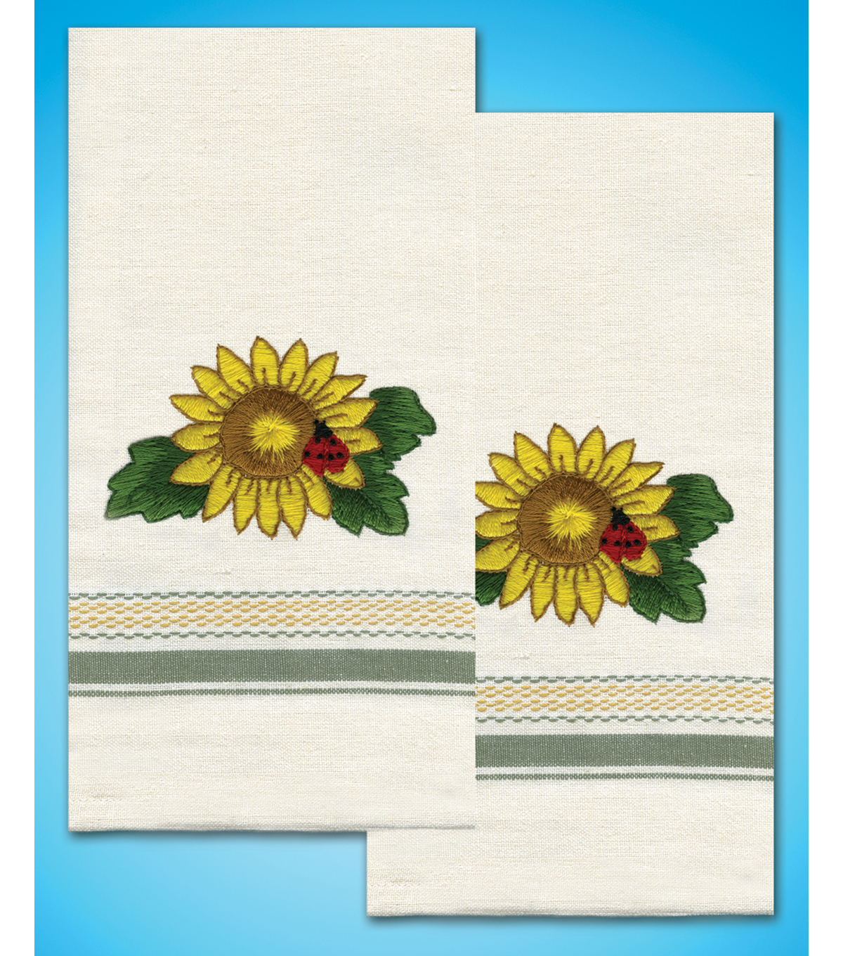 Stamped Kitchen Towels For Embroidery 20\u0022X28\u0022 2/Pkg- Sunflower