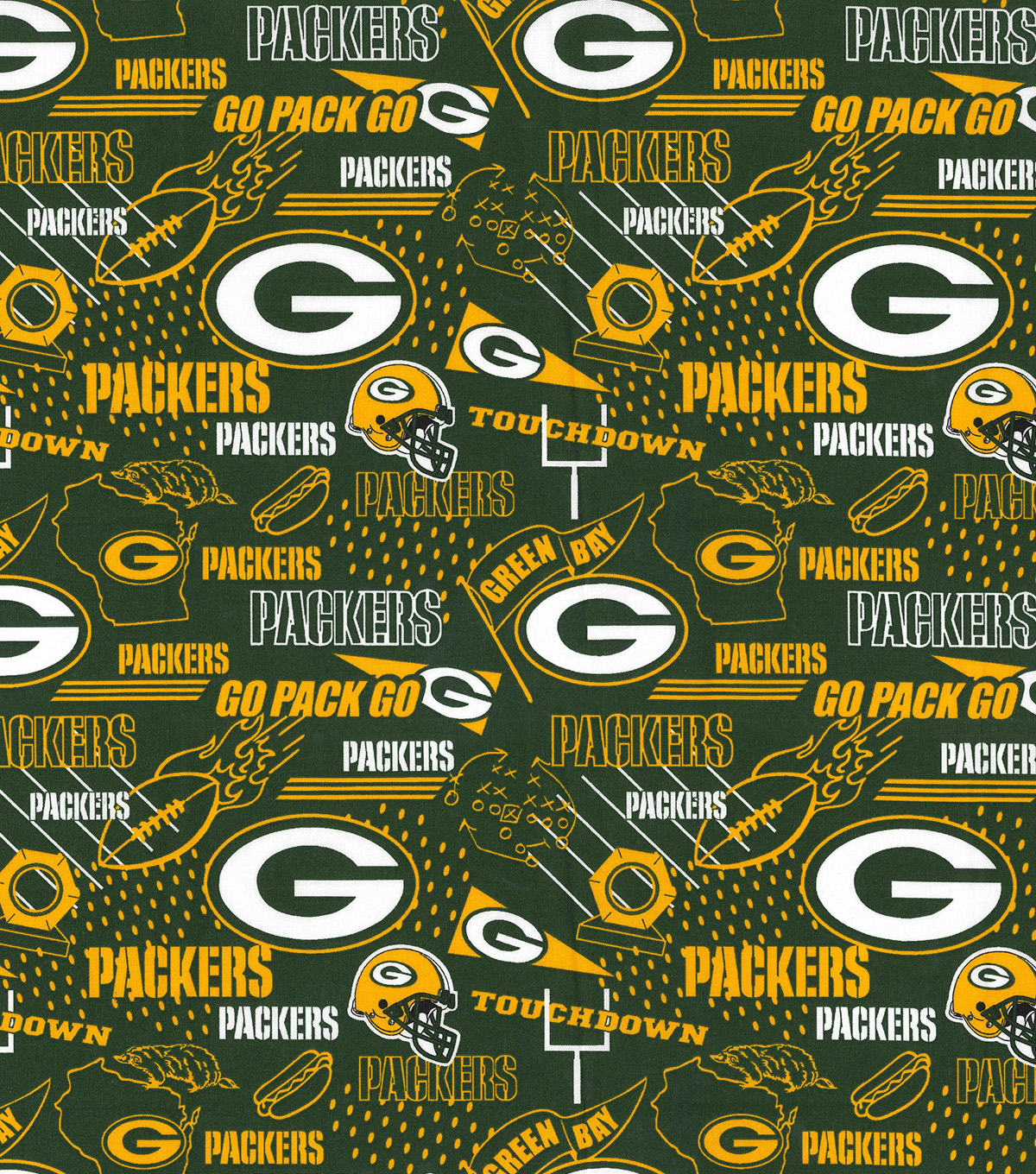 Green Bay Packers Cotton Fabric -Hometown