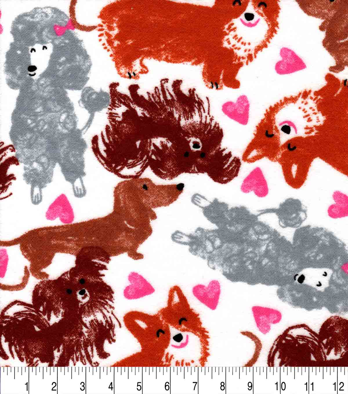 Snuggle Flannel Fabric-Sketched Pups and Hearts