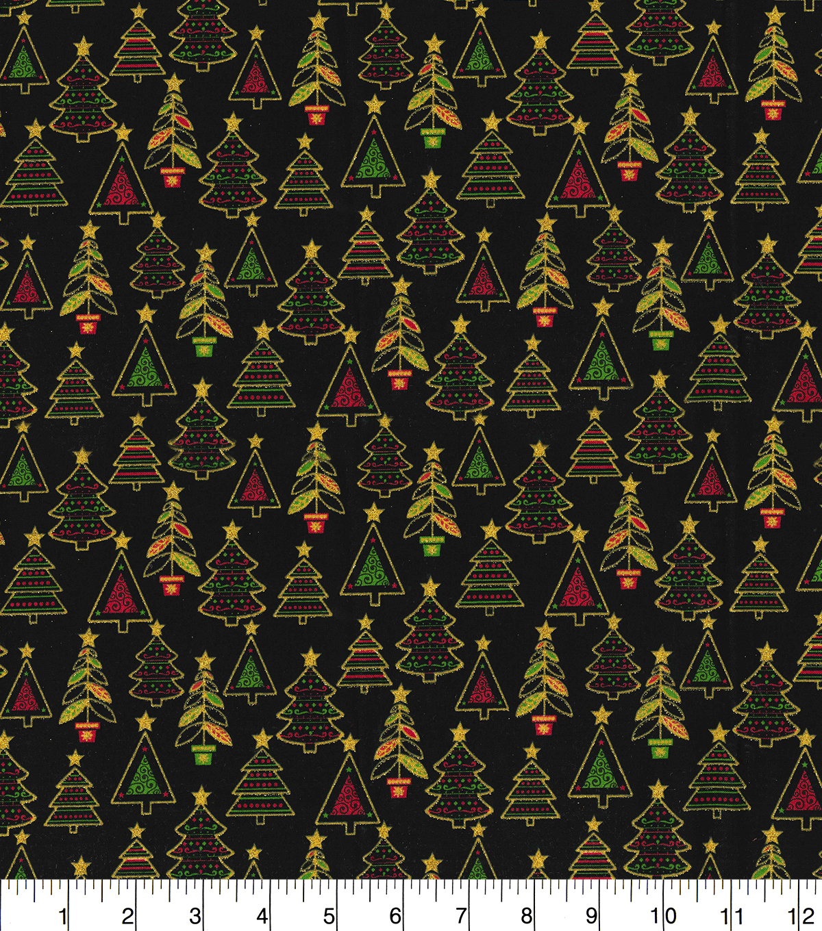 Christmas Cotton Fabric 44\u0022-Glitter Christmas Trees