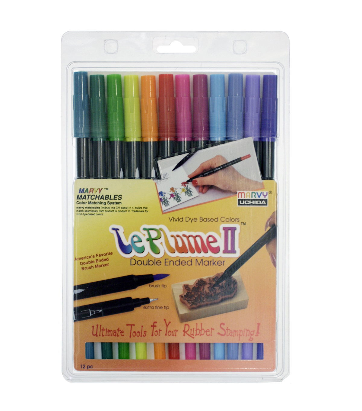 Marvy Uchida Le Plume II Pack of 12 Watercolor Marker Set-Bright