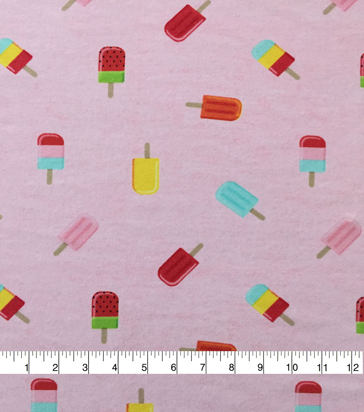 Doodles Cotton Spandex Interlock Knit Fabric-Pink Heather Popsicles
