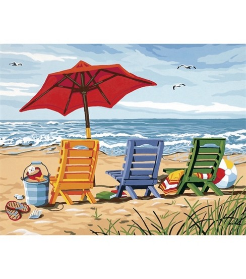 Dimensions Paint By Number Kit 14X11-Beach Chair Trio