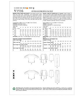 Vogue Pattern V1516 Misses\u0027 Tops, Skirt & Pants-Size 14-16-18-20-22