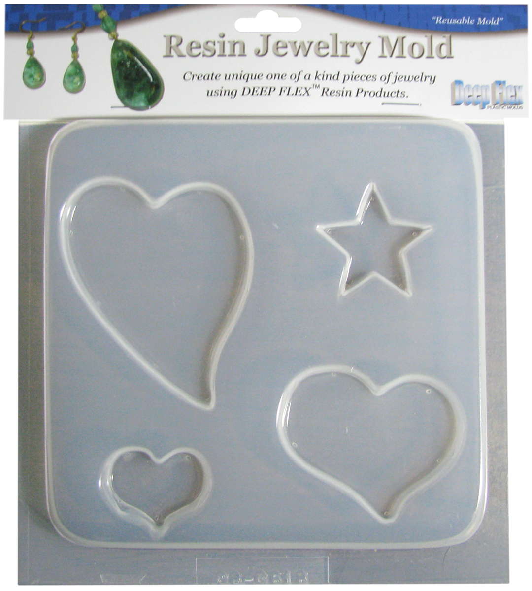 Yaley Deep Flex Resin Jewelry Mold 4 Cavity Hearts/Stars