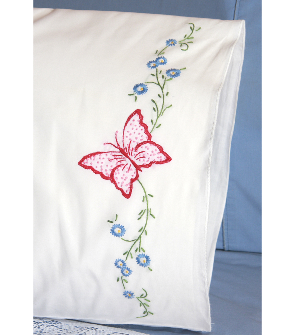 Fairway Stamped Perle Edge Pillowcase Red Butterfly