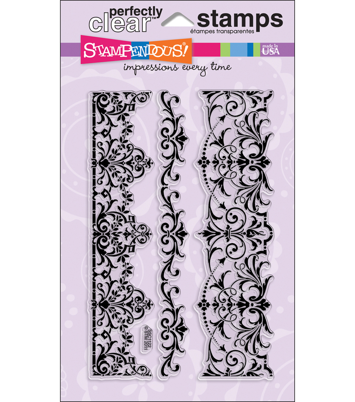 Stampendous Perfectly Clear Stamps 4\u0022X6\u0022 Sheet-Elegant Borders