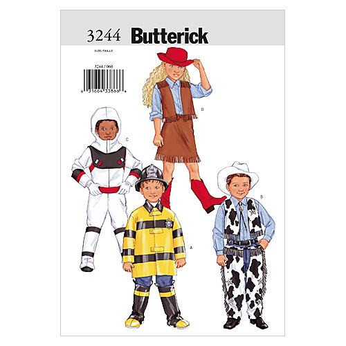 Butterick Pattern B3244 Childrens\u0027 Space, Rodeo & Fire Fighter Costumes, Sizes 6-7-8