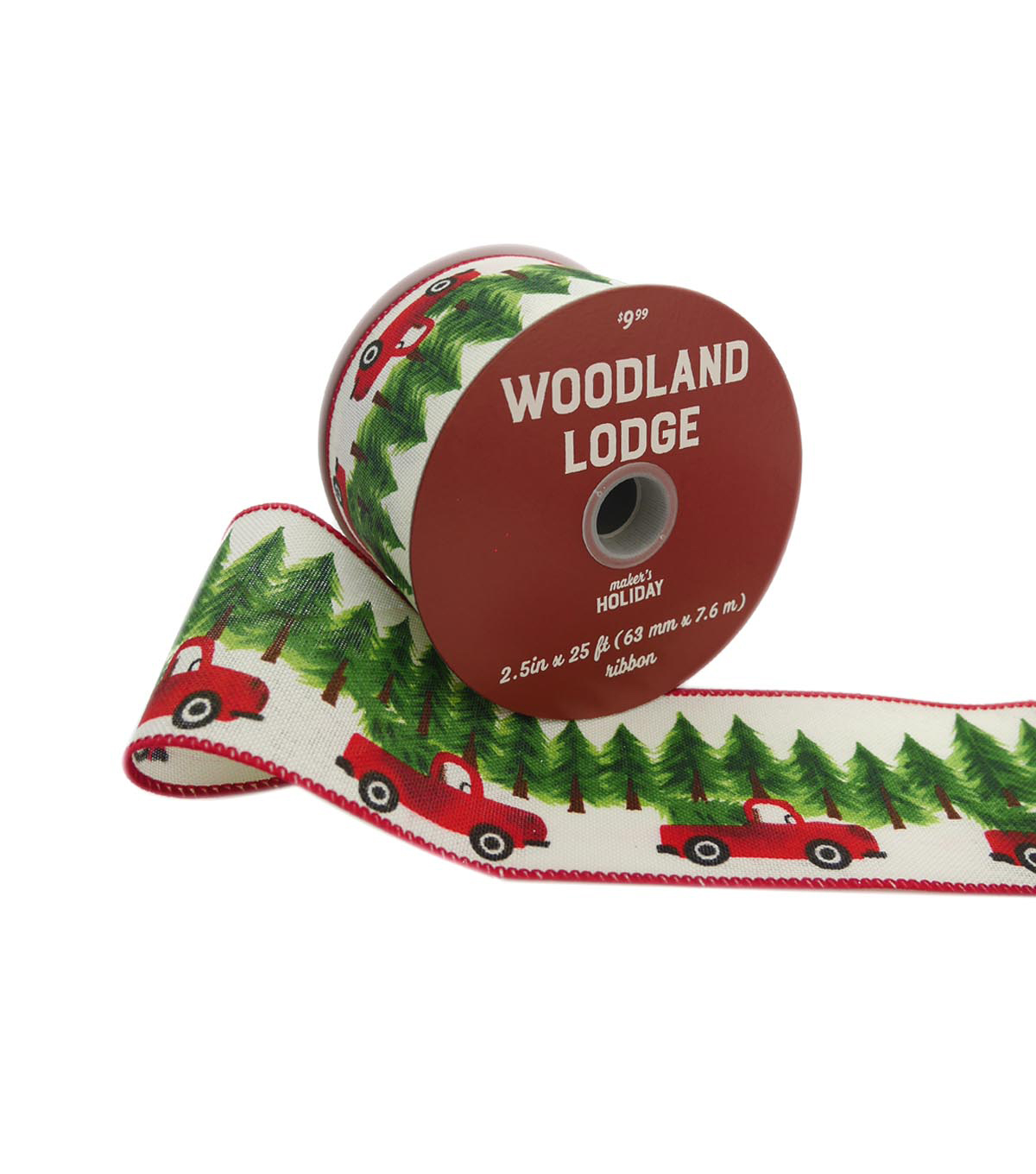 Maker\u0027s Holiday Woodland Lodge Ribbon 2.5\u0027\u0027x25\u0027-Trucks with Trees