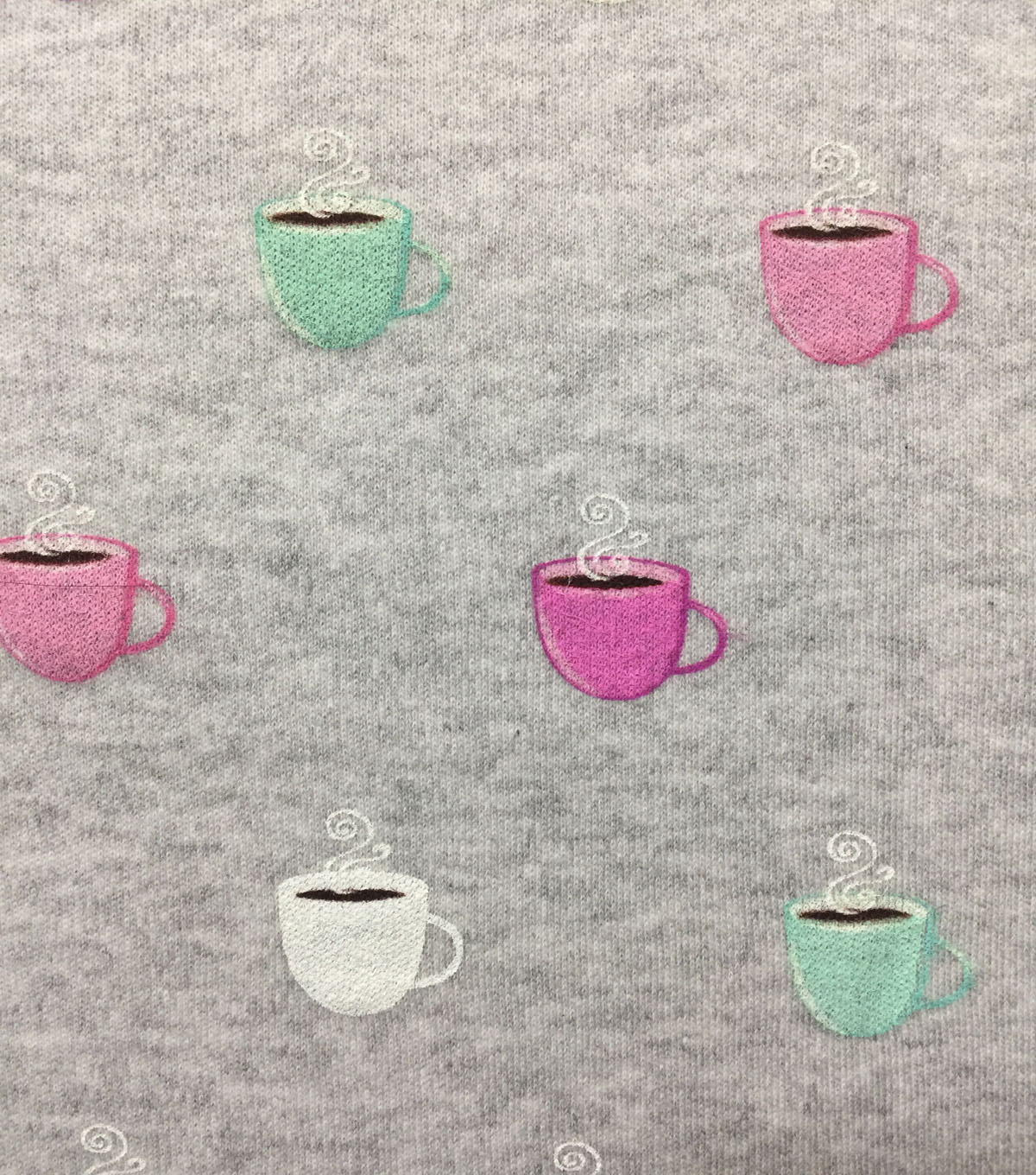 Doodles Cotton Spandex Interlock Knit Fabric-Lt Gray Heather Java Cups