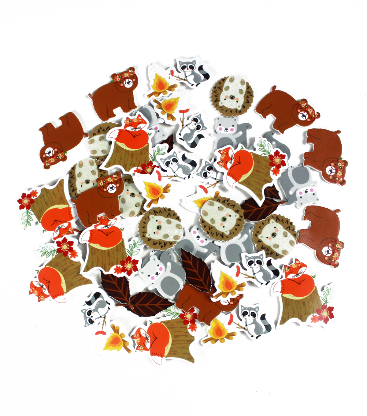 Little Makers Thanksgiving 45 pk Foam Stickers-Woodland