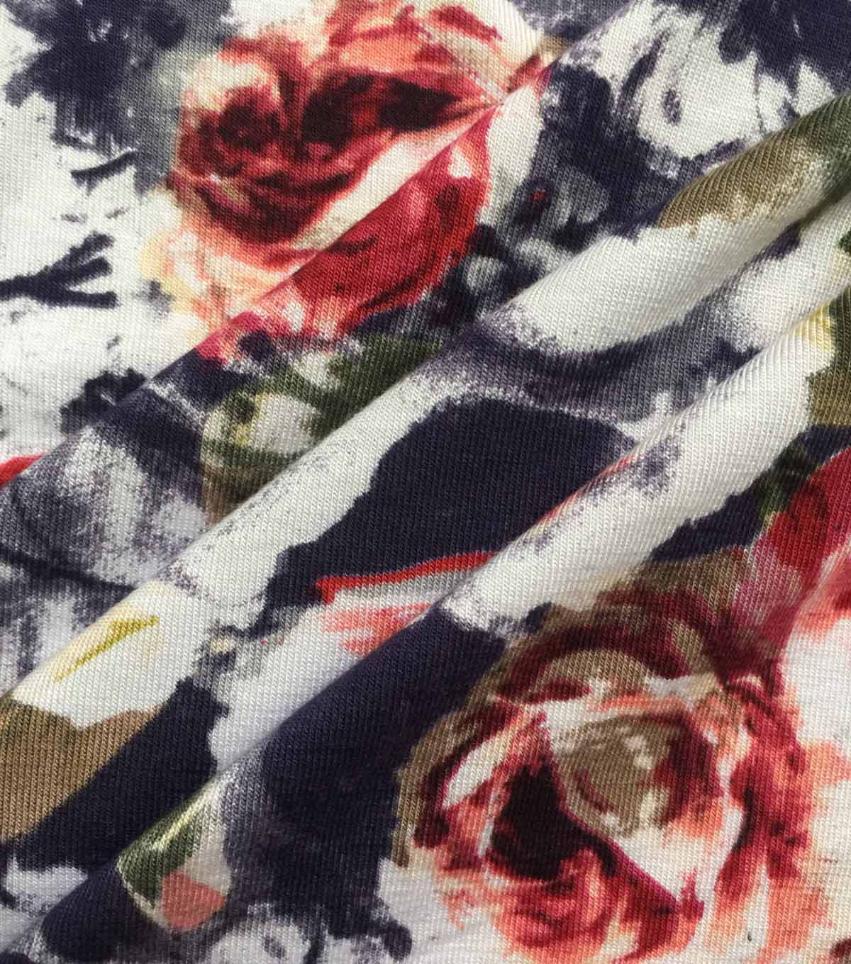 Knit Fabric -Floral on Navy