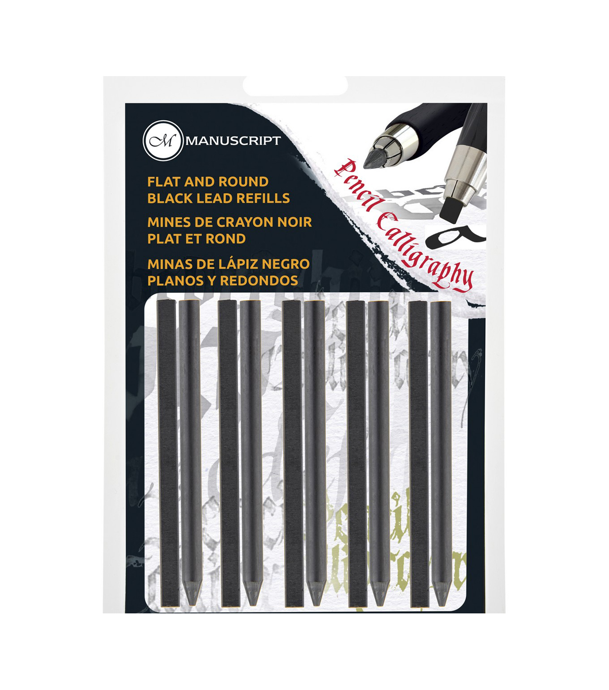 Manuscript CalliCreative Round & Flat Lead Refill Set 10/Pkg-Black