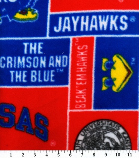 University of Kansas Jayhawks Fleece Fabric 58\u0027\u0027-Block