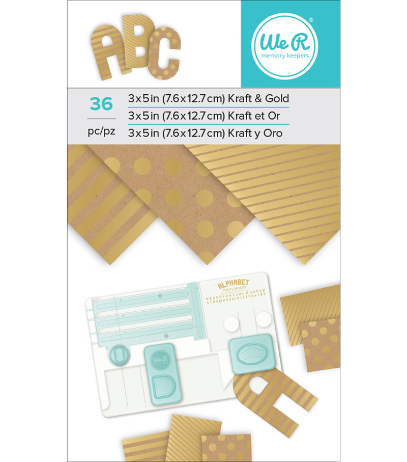 We R Memory Keepers 36 sheets Kraft with Gold Foil Paper Pad