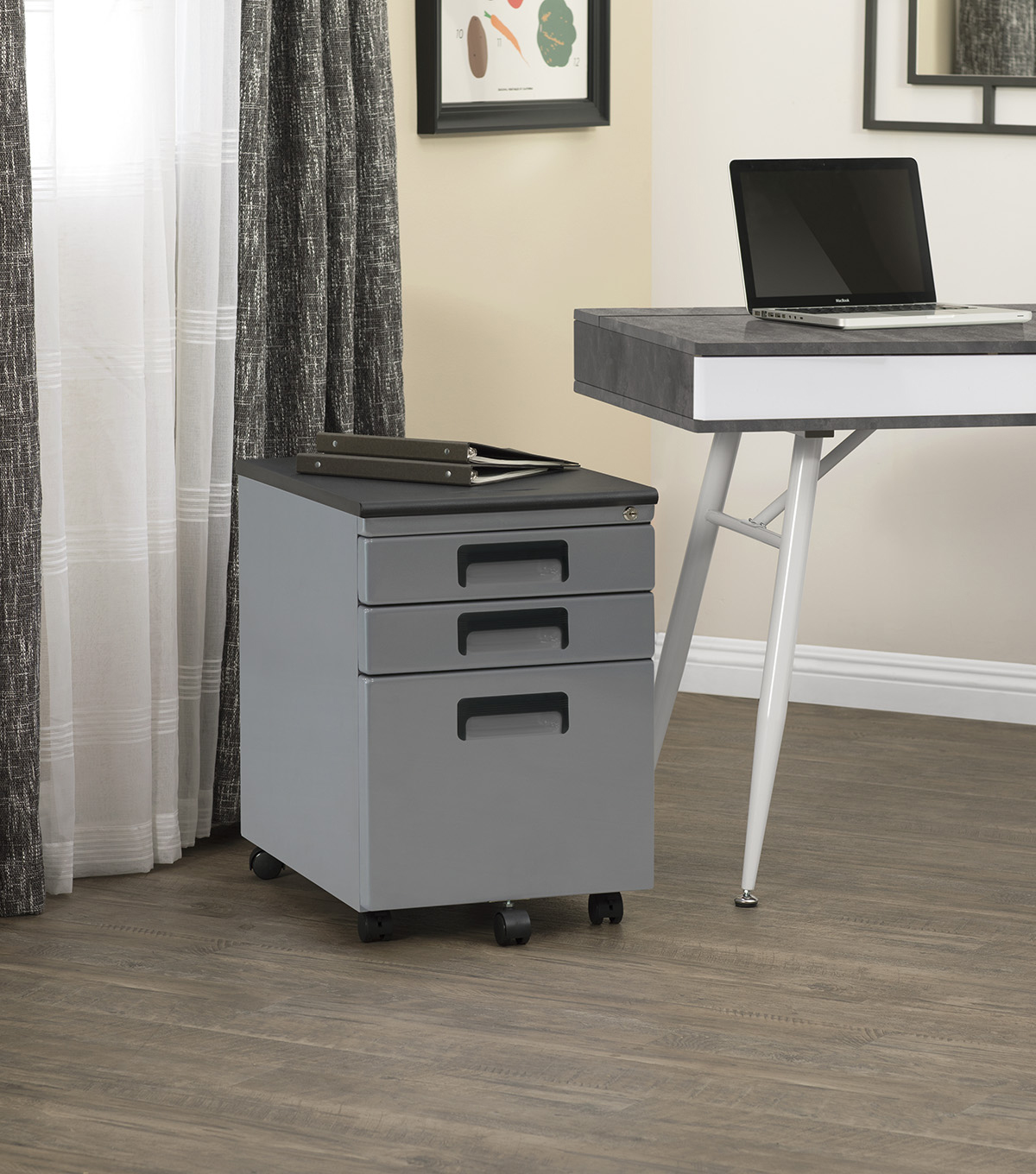 Studio Designs 3 Drawer Rolling File Cabinet-Gray