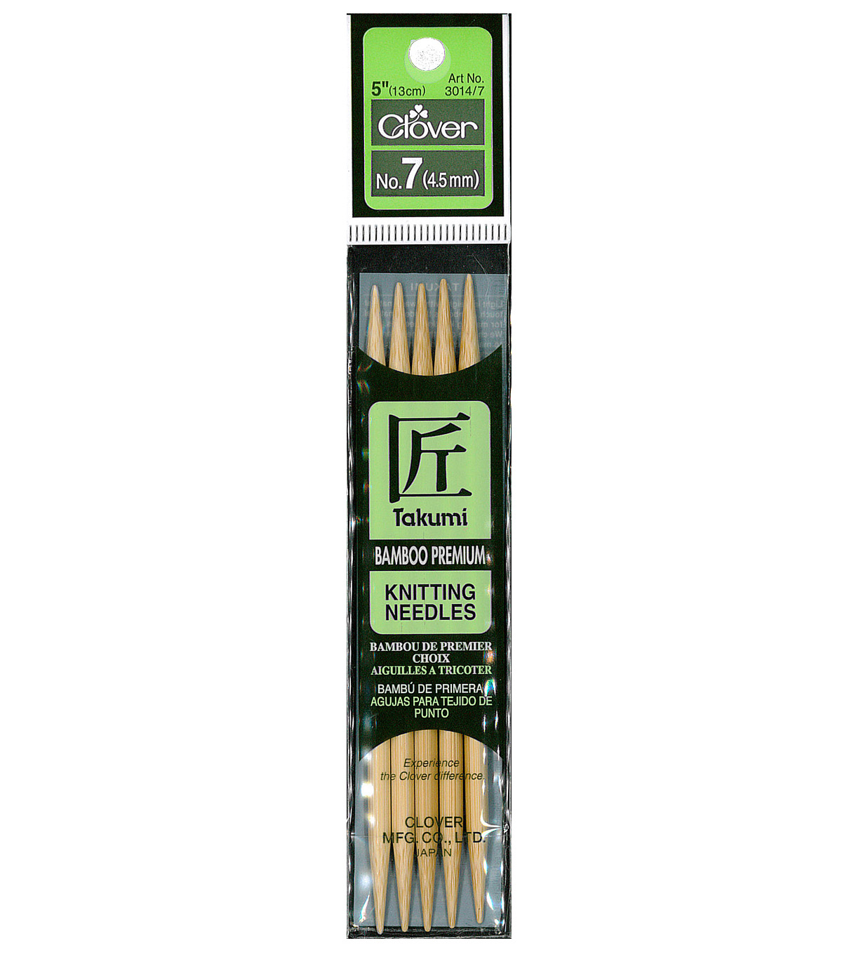Takumi Bamboo Double Point Knitting Needles 5\u0022 5/Pkg-Size 7/4.5mm