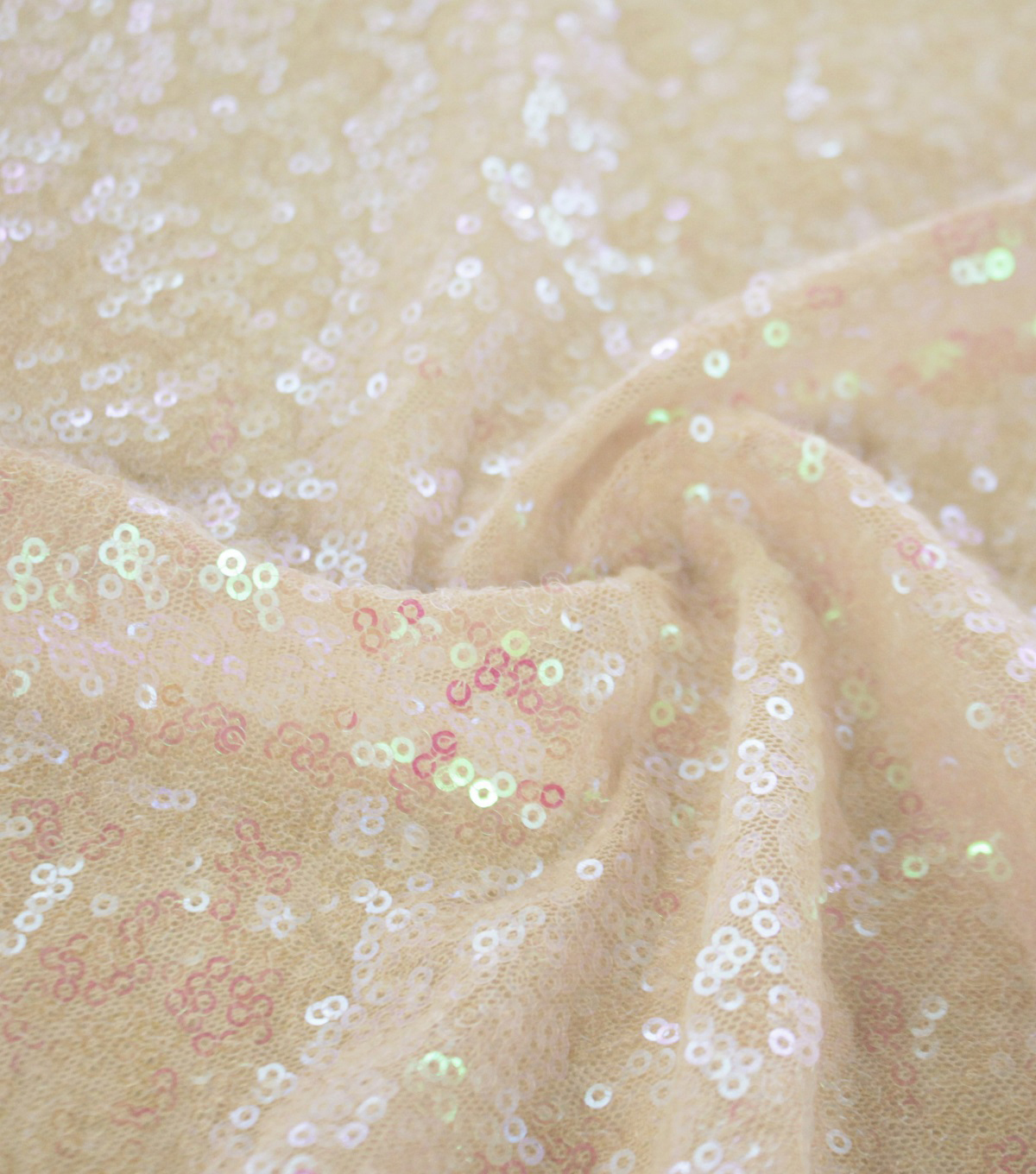 Performance Pearl Sequin Mesh Fabric-Champagne Flirt