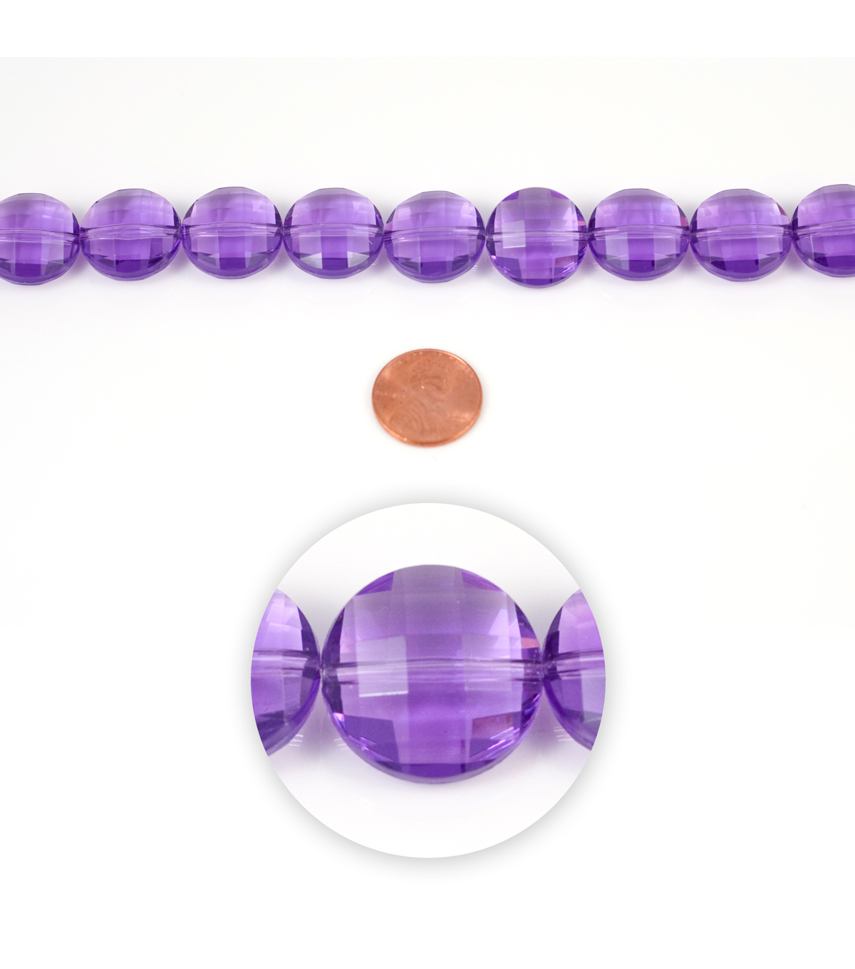 Blue Moon Strung Acrylic Beads,Flat Round,Purple,Facetted