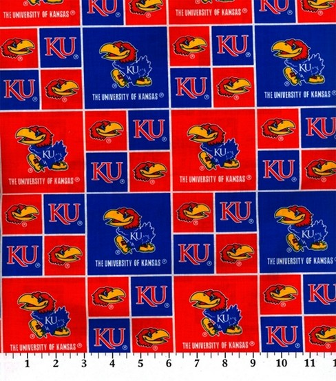University of Kansas Jayhawks Cotton Fabric -Block