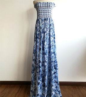 Smocked Dressing Rayon Fabric 53\u0027\u0027-Blue Batik