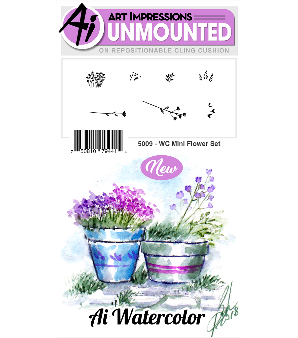 Art Impressions 7 pk Cling Rubber Stamps-Watercolor Mini Flower Set