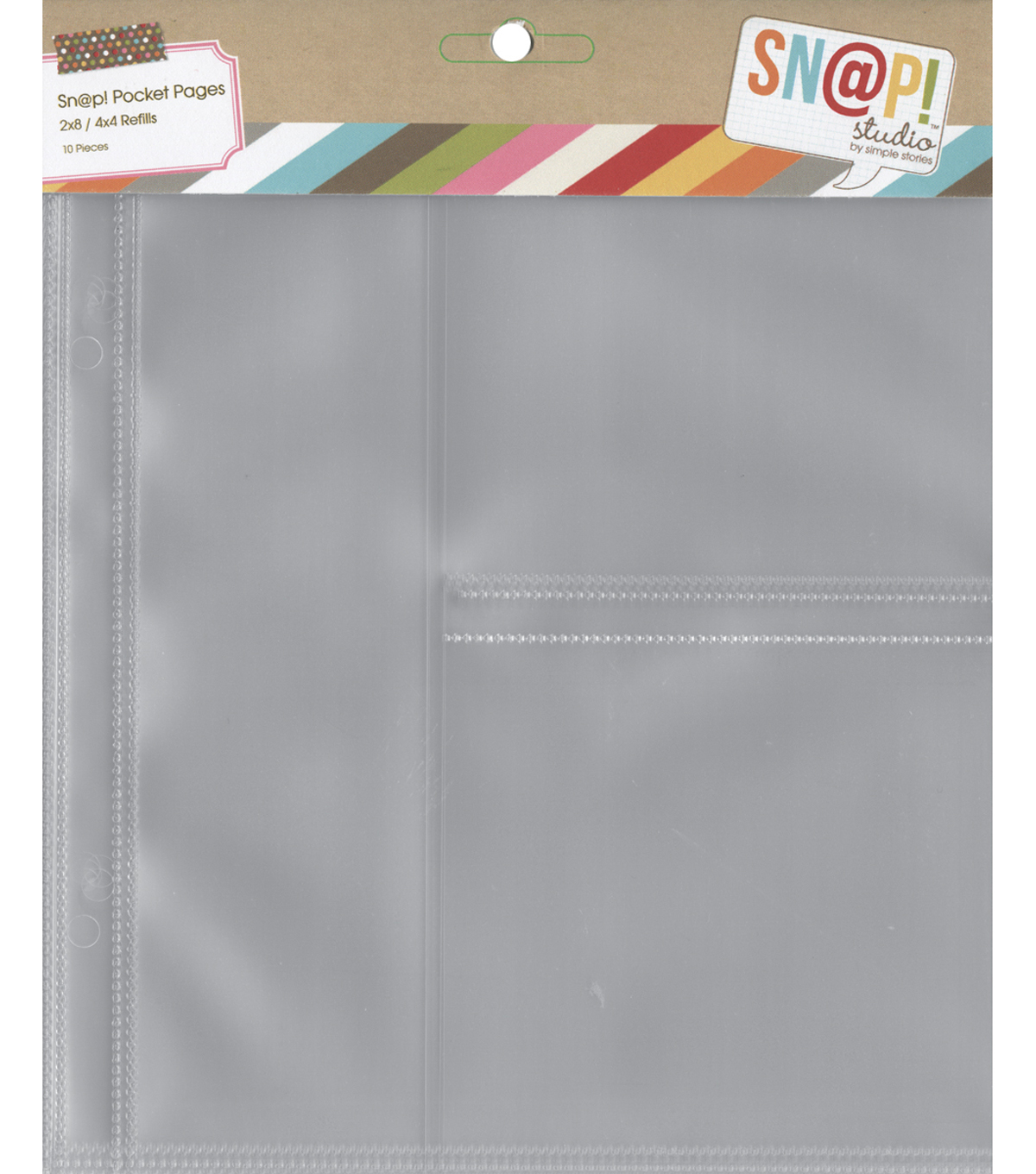 Pocket Pages For 6\u0022X8\u0022 Binders-(1) 2\u0022X8\u0022 & (2) 4\u0022X4\u0022 Pockets