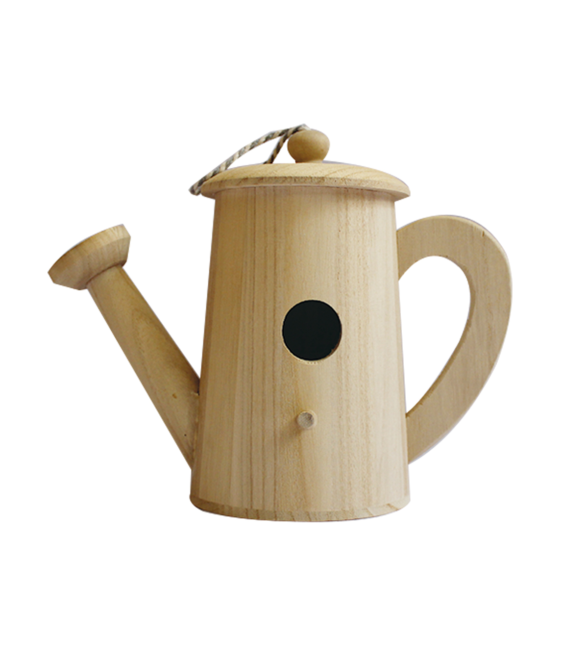 Unfinished Wood Birdhouse-Watering Can