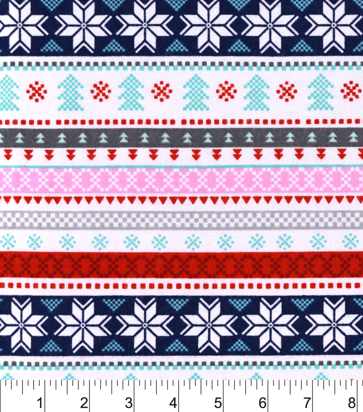 Snuggle Flannel Fabric -Snowflake Pink Blue