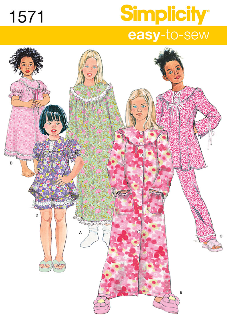 Simplicity Pattern 1571HH 3-4-5-6 -Child Girl Sleepwear