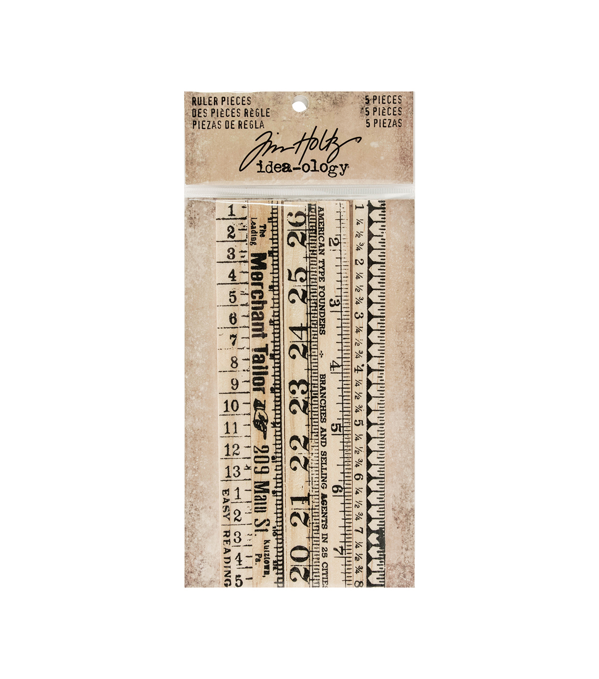 Tim Holtz Idea-ology Pack of 5 6\u0027\u0027 Ruler Pieces