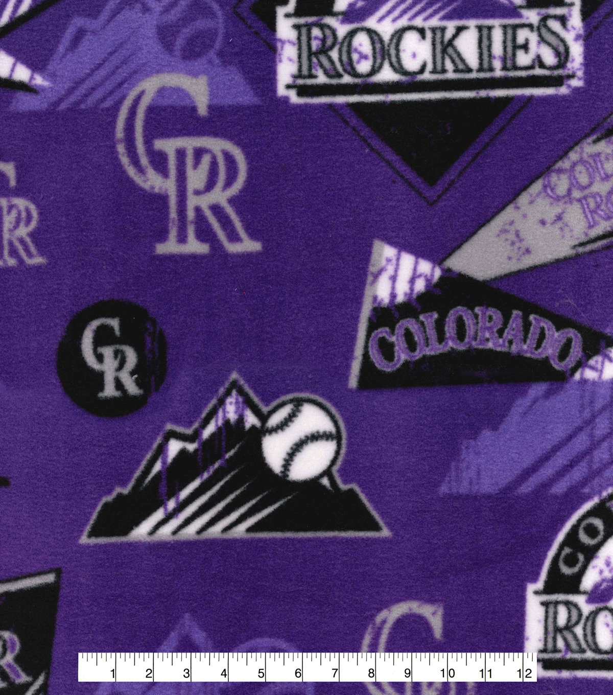 Colorado Rockies Fleece Fabric-Vintage