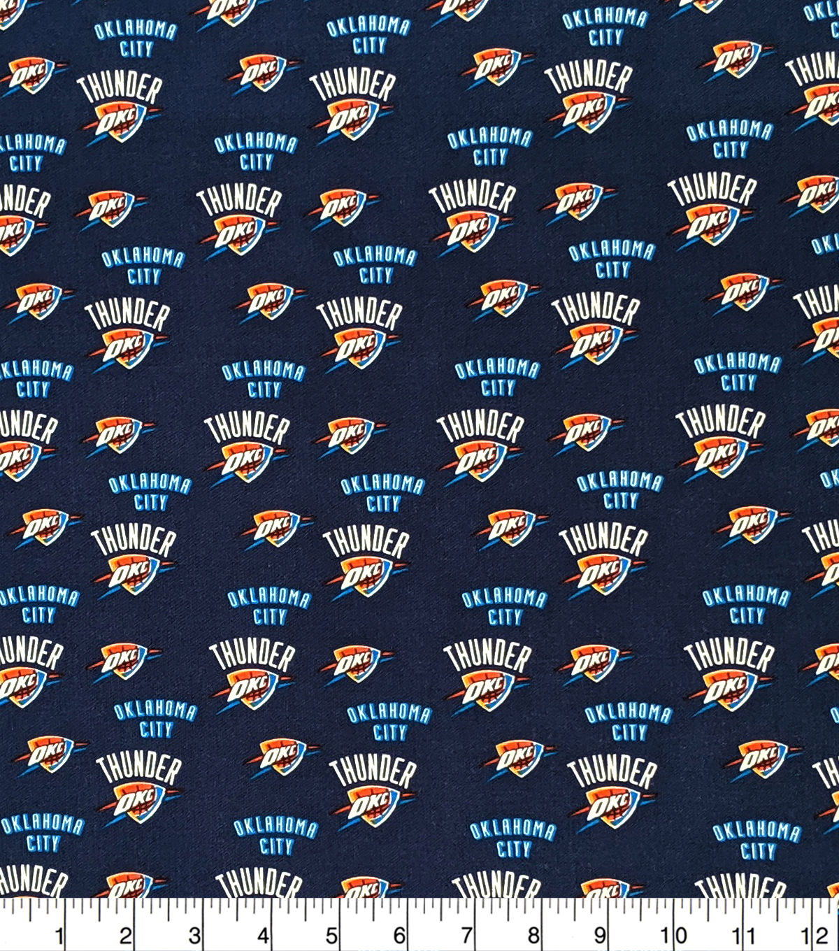 Oklahoma City Thunder Cotton Fabric-Allover