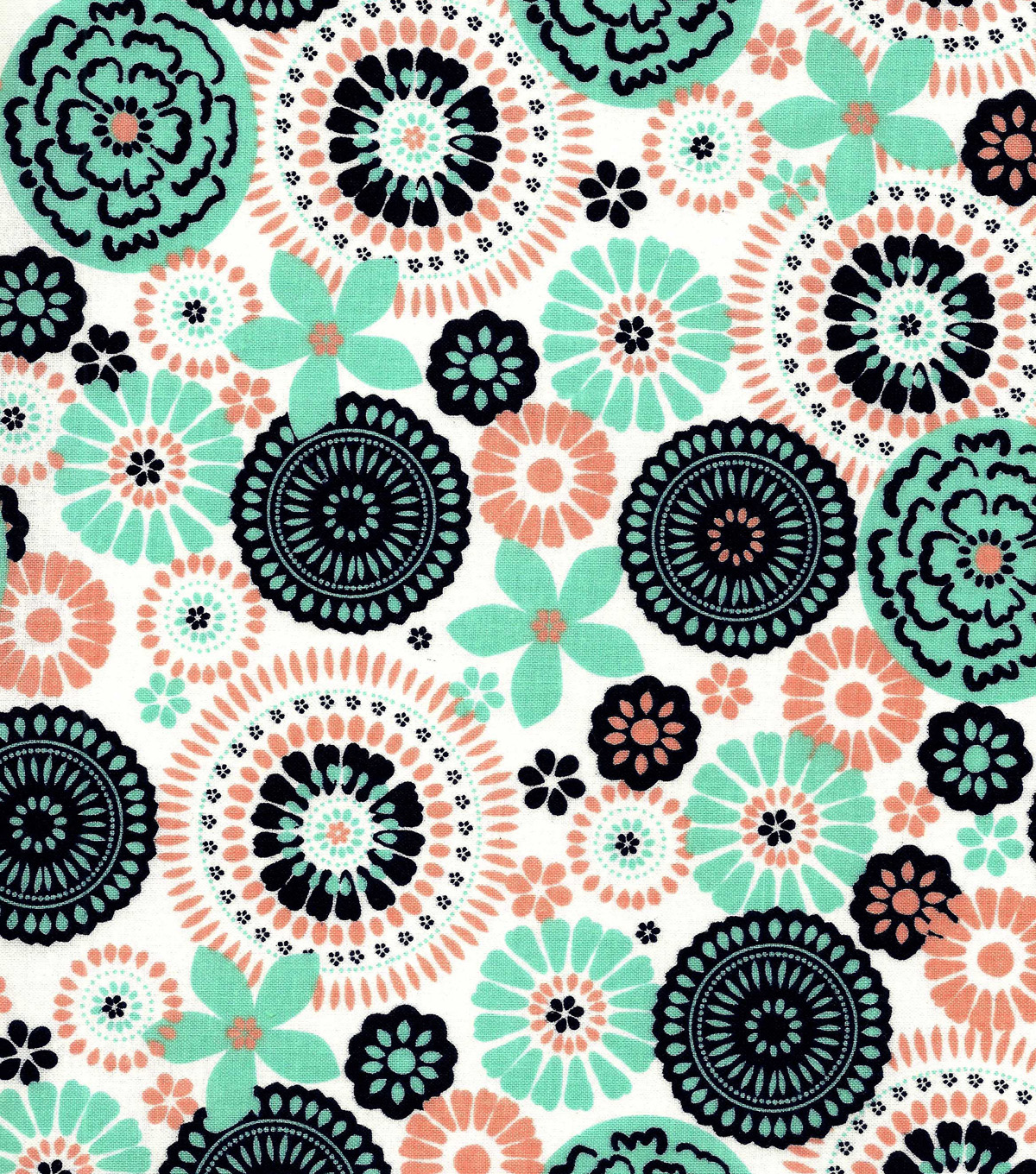 Quilter\u0027s Showcase Cotton Fabric -Peach Nectar Yucca Medallion