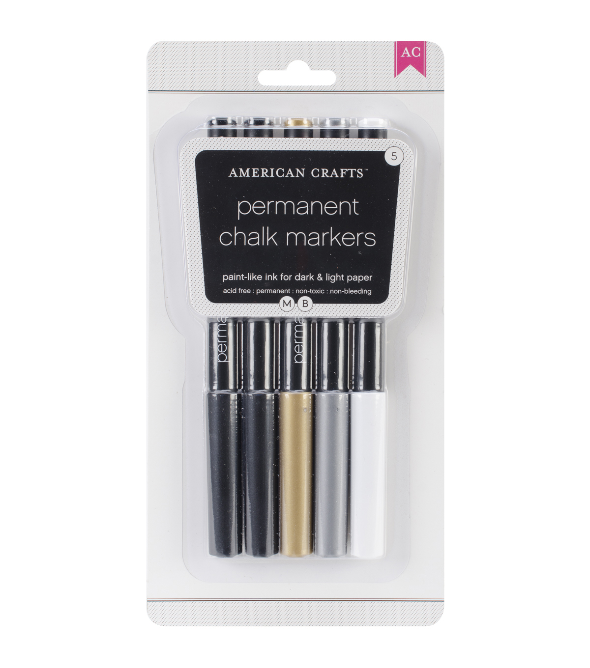 American Crafts Permanent Chalk Markers 5/Pkg