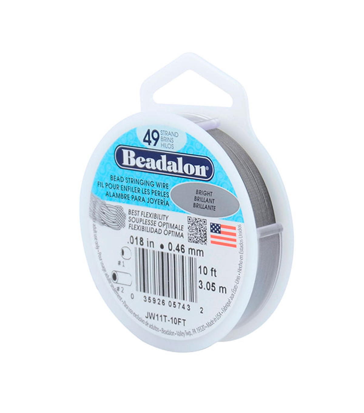 Beadalon 49 Strand .018\u0022 Wire-10FT/Bright