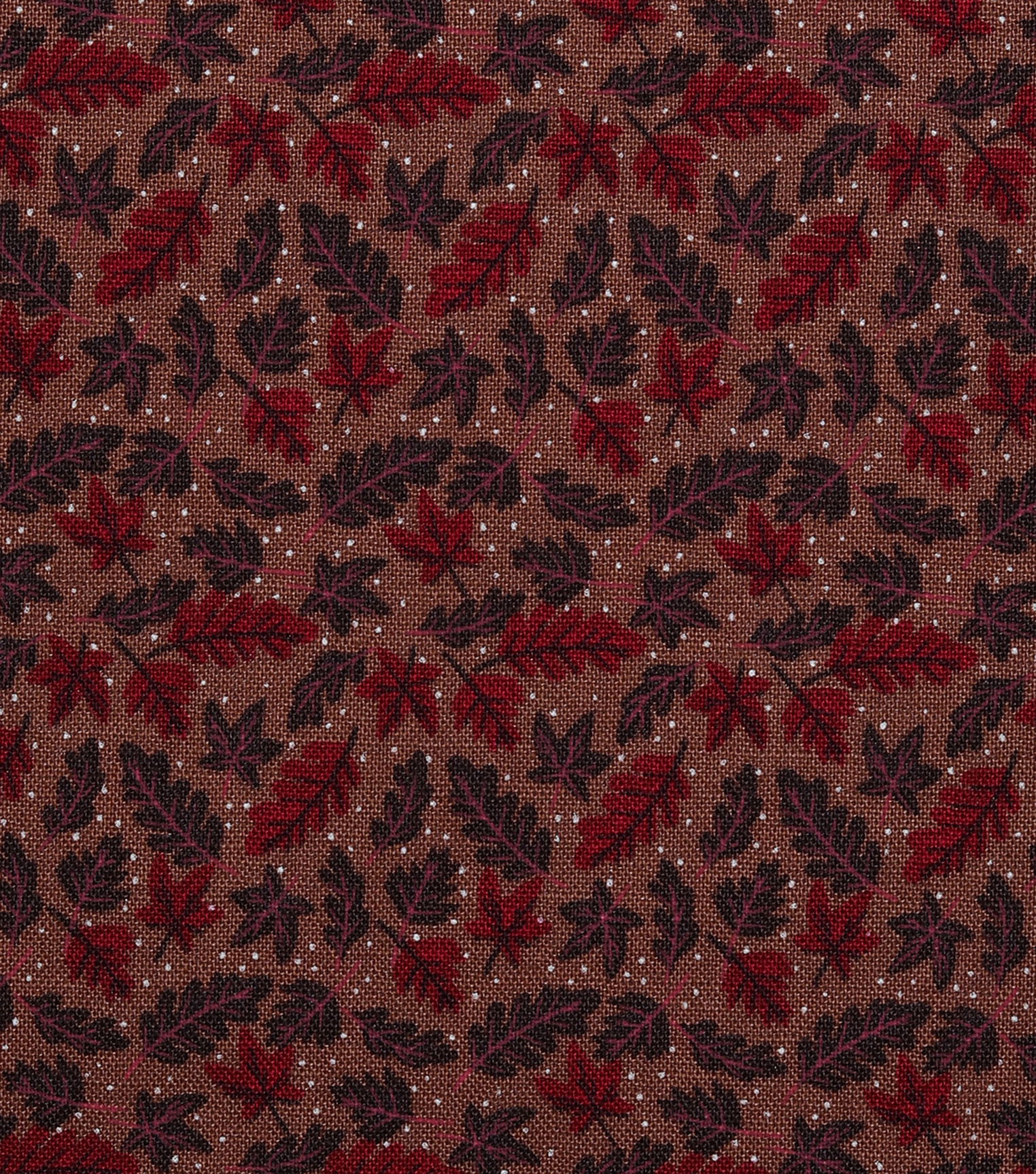 Harvest Cotton Fabric-Brown Tossed Leaves