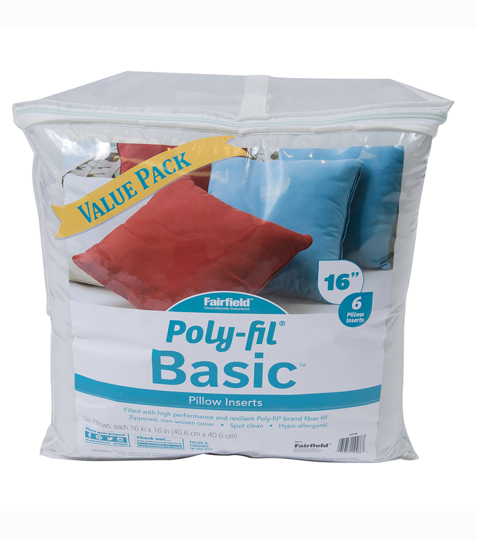 Poly-Fil Basic 16\u0027\u0027x16\u0027\u0027 Pillow Inserts Value Pack