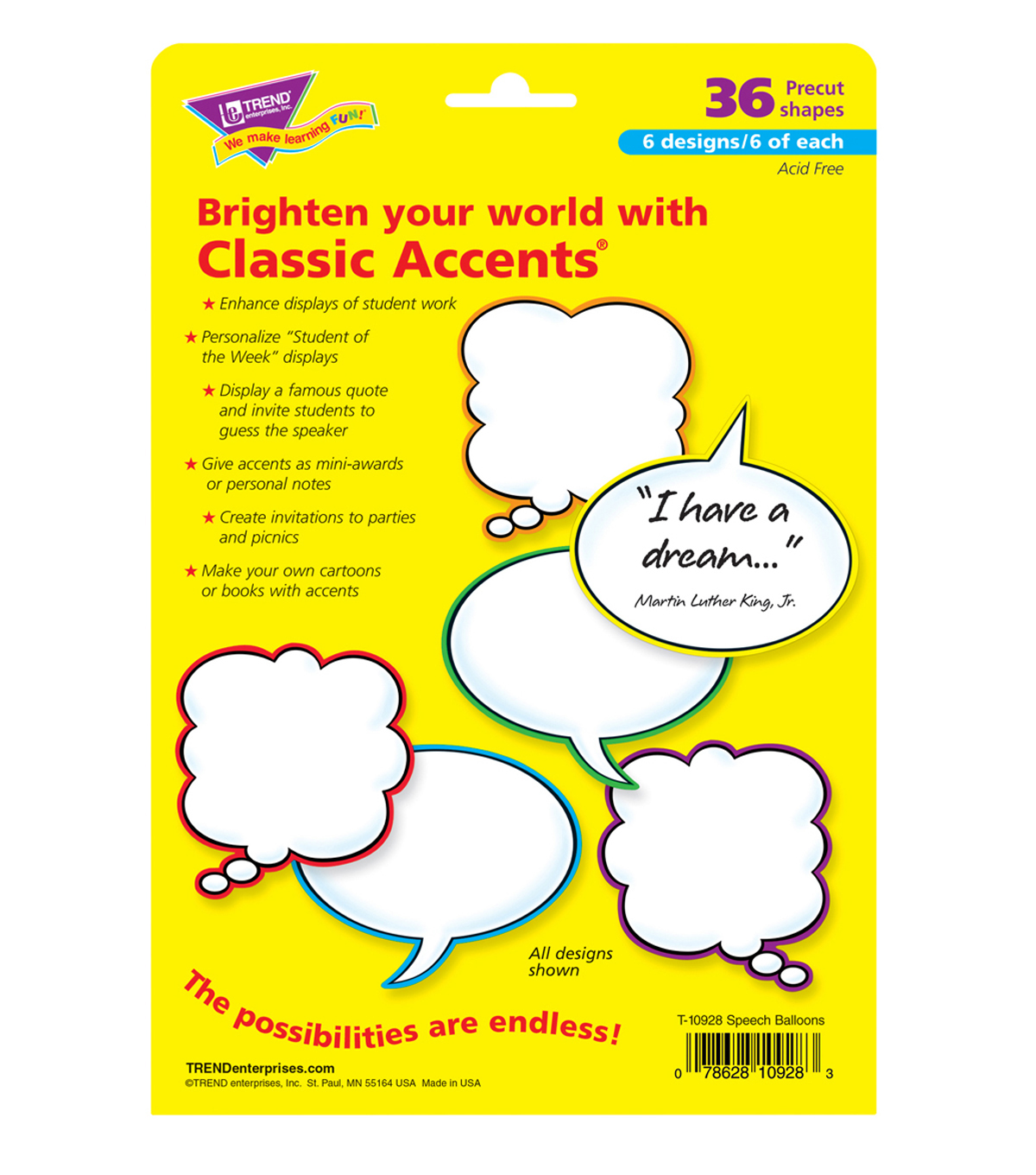 Speech Balloons Classic Accents Variety Pack, 36 Per Pack, 6 Packs