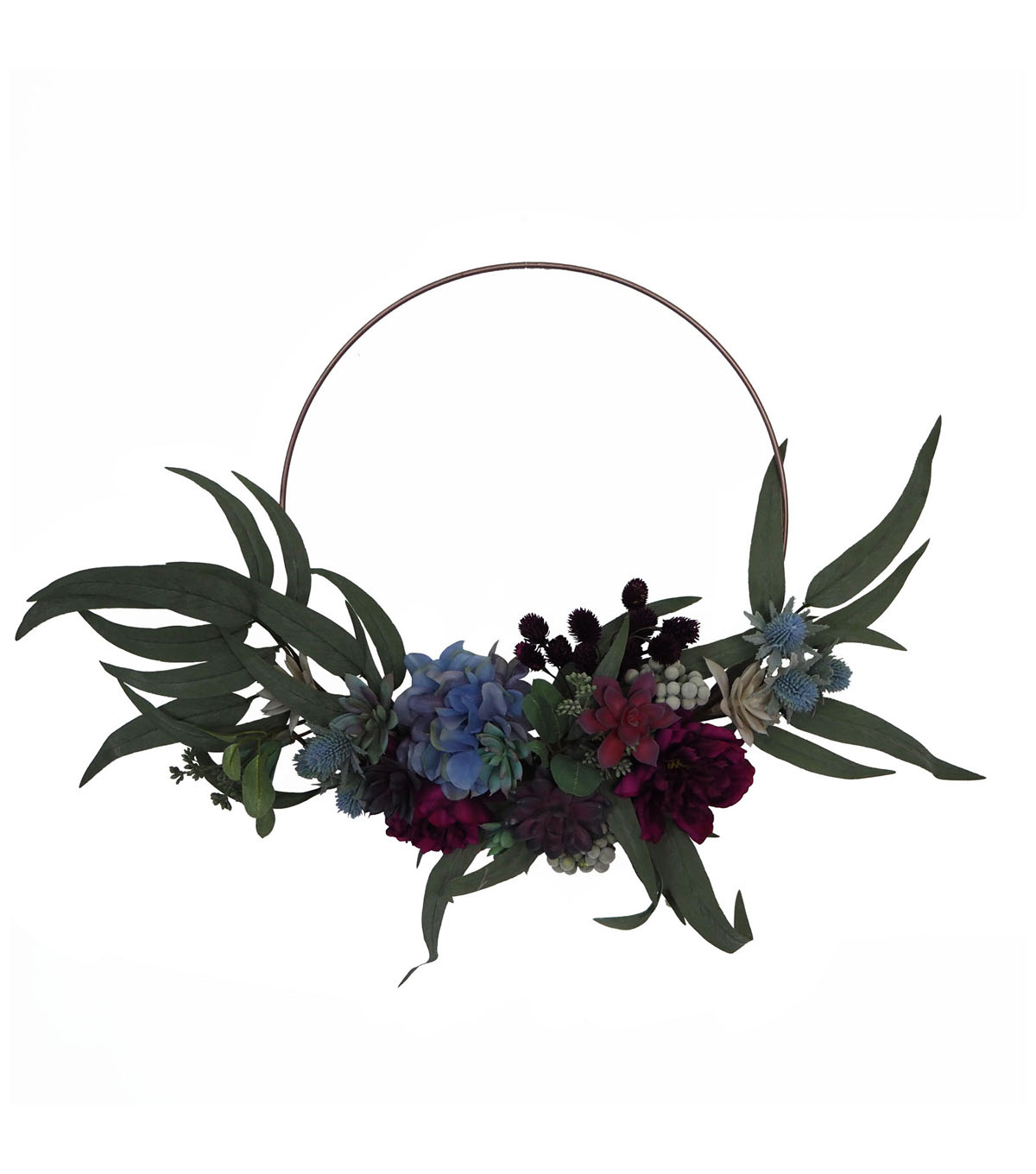 Blooming Autumn Peony, Succulent & Thistle Wreath