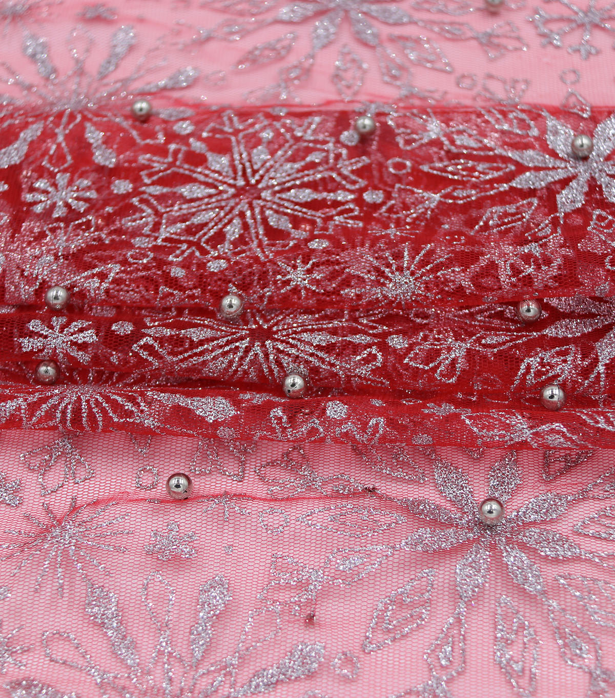 Holiday Decor Christmas Fabric-Snowflake with Beads Red White
