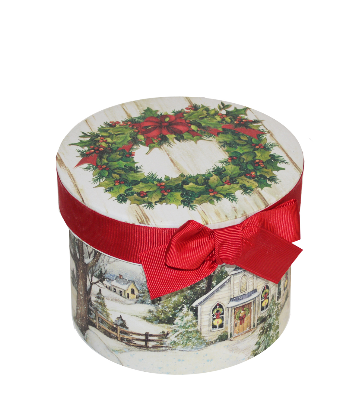 Christmas Small Round Storage Box-Evergreen Christmas