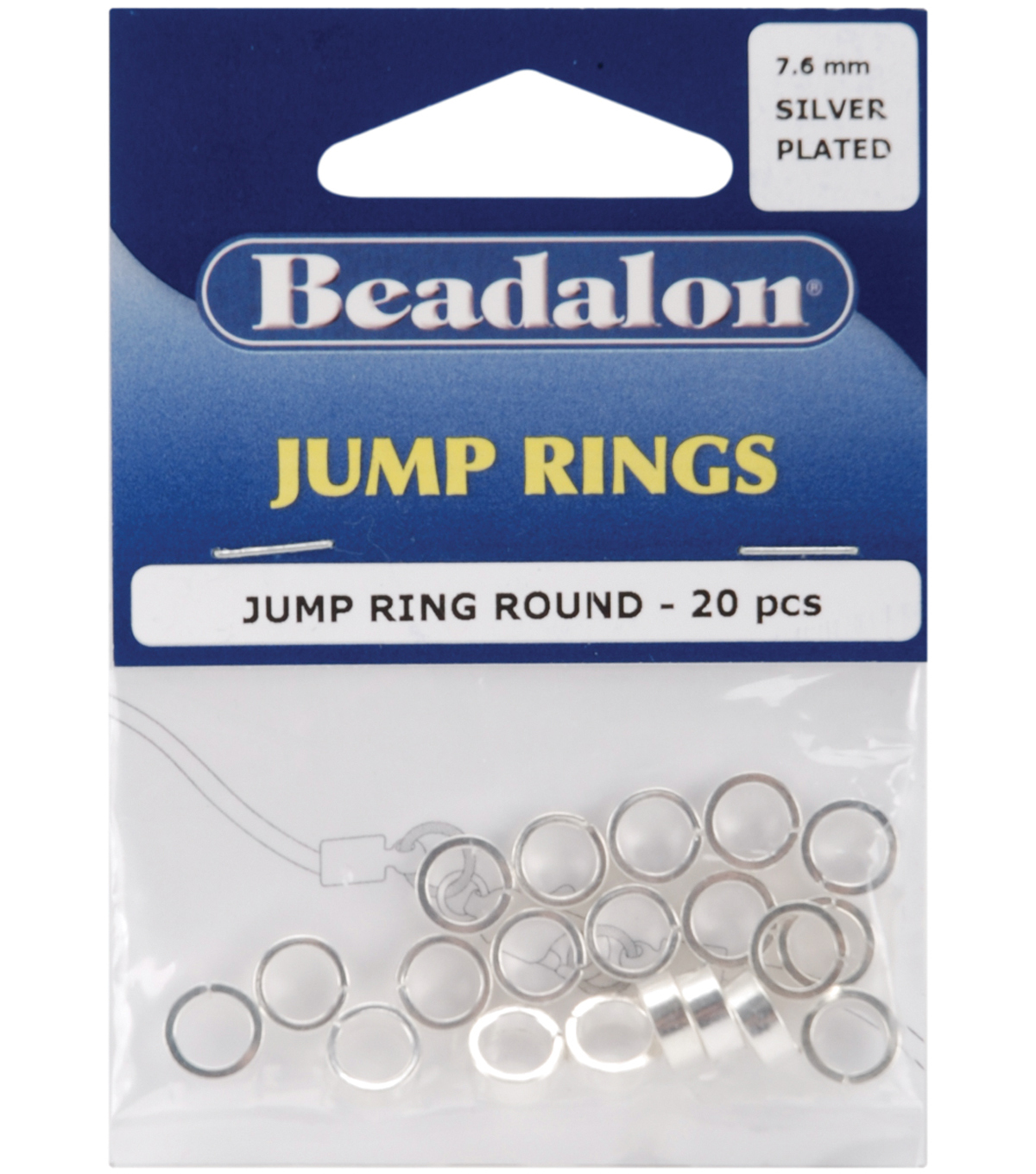 Beadalon Jump Rings 7.6mm 20PK-Silver