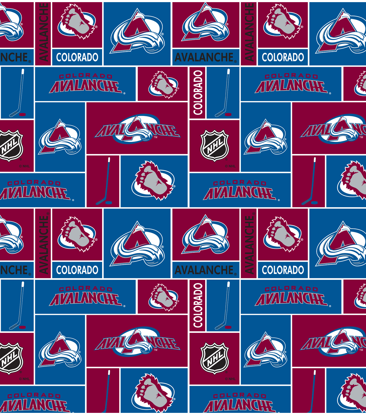 Colorado Avalanche Cotton Fabric -Black