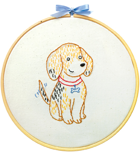 Penguin & Fish Embroidery Kit 8\u0022 Round Stitched In Floss-Beagle