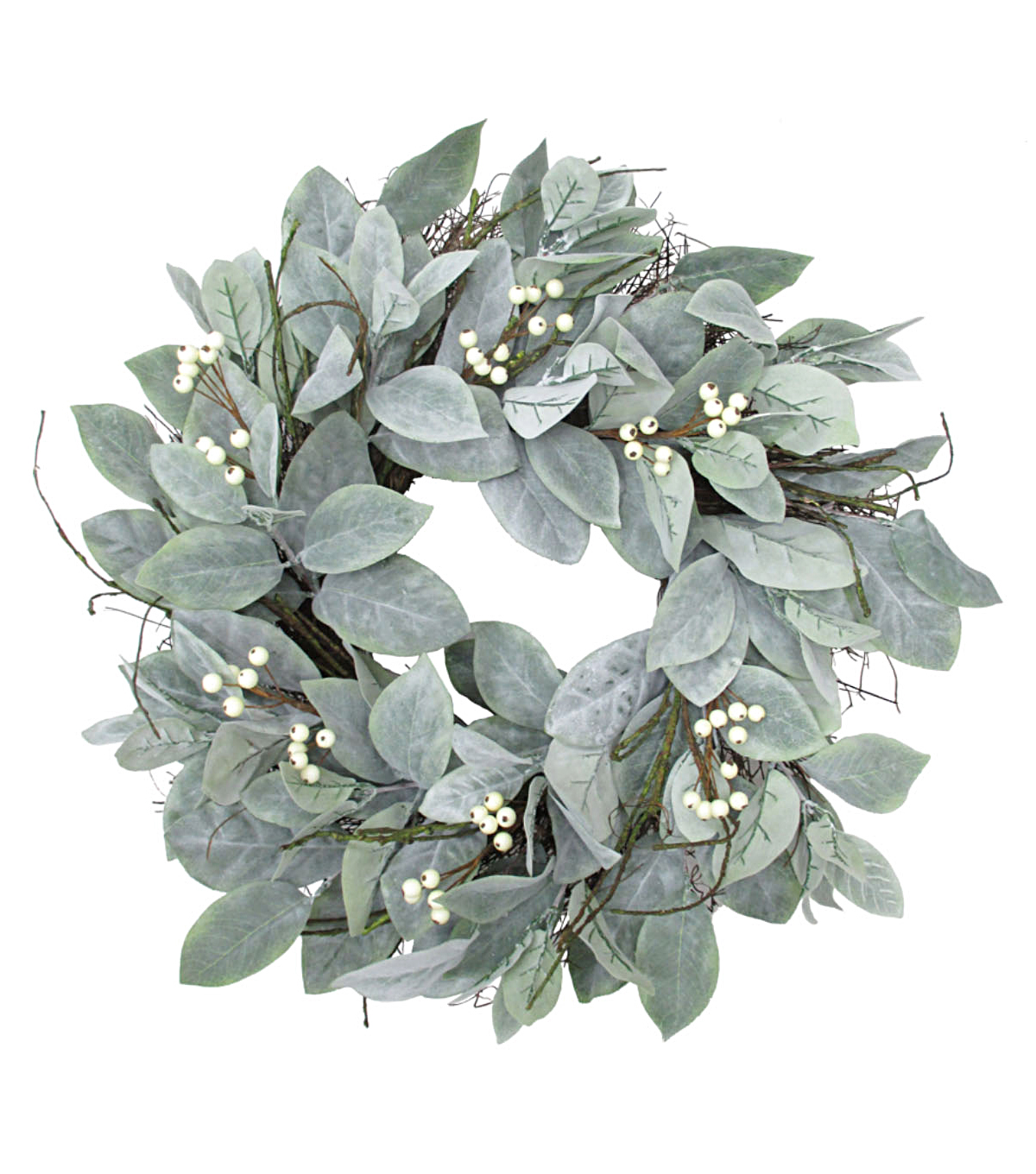 Blooming Holiday Christmas White Berry & Dusty Miller Wreath