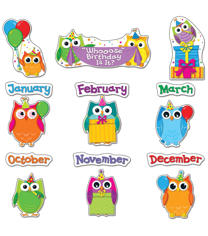 - Colorful Owls Birthday Bulletin Board Set JOANN