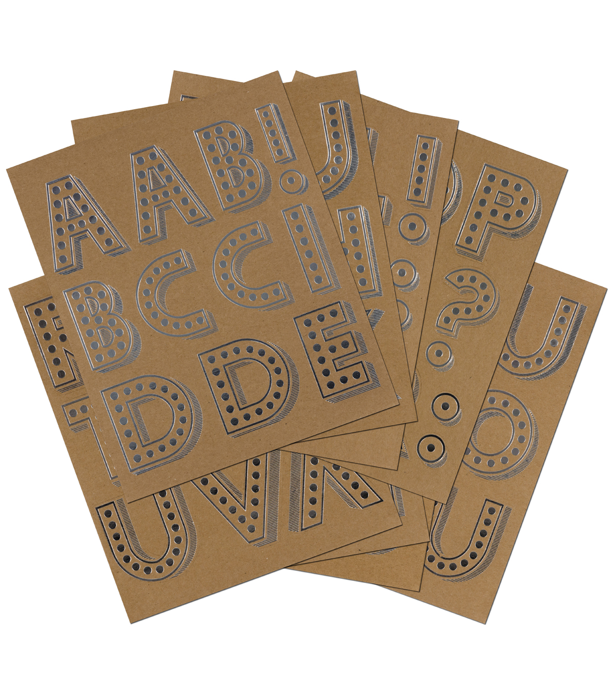 Sticko Marquee Foil X-Large Alphabet Stickers-Kraft